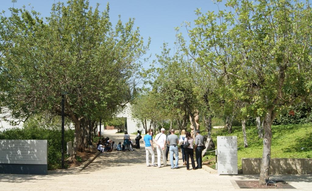 """Ein Teilstück der """"Allee der Gerechten unter den Völkern"""" in Yad Vashem. Dort dürfzen Nicht-Juden, die während des Holocausts jüdische Menschen vor dem Zugriff der SS retteten, als besondere Ehre Bäume pflanzen. Dort wachsen unter anderem die gepflanzten Bäume von Oskar Schindler und Fritz Gräbe. (Foto: B. Glumm)"""