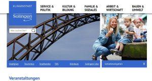 Aufgeräumt und modern präsentiert sich die komplett überarbeitete Webpräsenz der Stadt Solingen. (Screenshot: www.solingen.de)