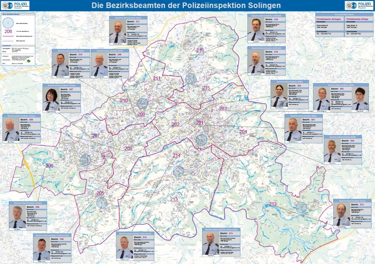 Übersichtlich präsentiert sich die brandneue Karte mit den Beeamten des Bezirksdienstes der Polizei in Solingen. Neben den Kontaktdaten sind auch Fotos der Polizisten hinterlegt. (Karte: Stadt Solingen/Polizei)