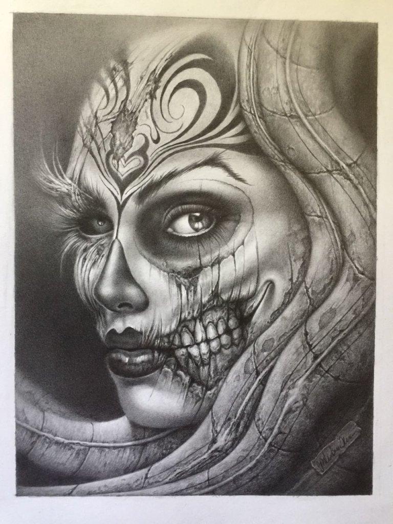 """Dieses Werk hat Schleutermann für die Ausstellung gezeichnet. Es trägt den Titel """"La Gigeria"""" und vereint Metamorphose und Giger-Elemente mit der mexikanischen Skelett-Dame La Catrina. (Foto: © Veranstalter)"""