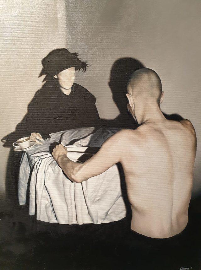 """Dieses 60 x 50 cm große Gemälde der Künstlerin Ciana Fitzgerald, in Öl auf Leinwand gehalten, trägt den Titel """"Im Widerspruch"""". (Foto: © Veranstalter)"""