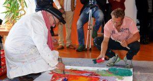 Stefan Seeger (li.) und Martin Kammler trafen sich zum Live-Painting. Es ist das erste gemeinsame Werk der beiden Künstler. (Foto: © Martina Hörle)