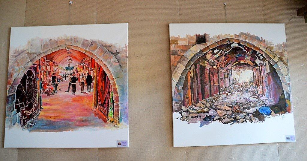 Eine Gegenüberstellung mit starker Aussagekraft: Links die Altstadt von Aleppo voller Leben, rechts liegt sie in Schutt und Asche. (Foto: © Martina Hörle)