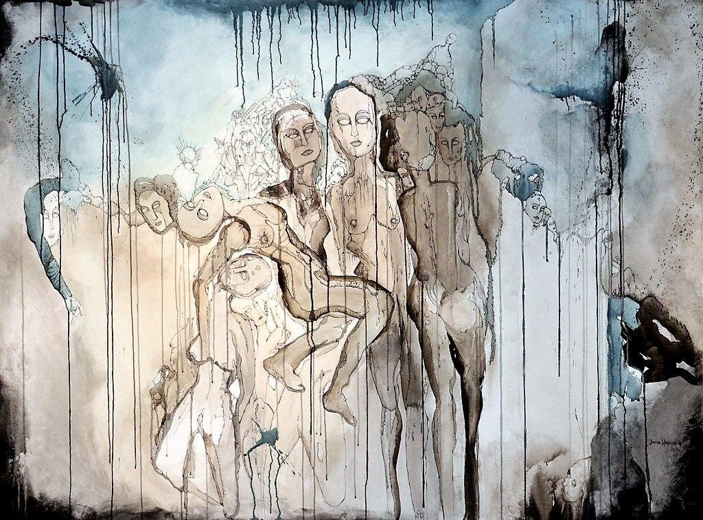 Das größte Bild der Ausstellung trägt auch den längsten Namen. Das 150 x 200 cm große Werk ist mit Tusche auf Leinwand gemalt. (Foto: © Martina Hörle)