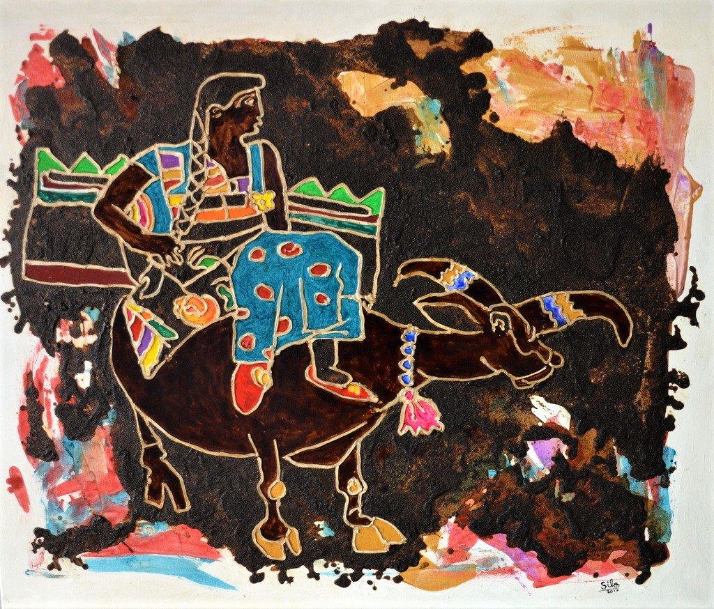 Dieses Werk gehört nicht zu der Thematik Flucht. Hier zeigt sich die große Vielseitigkeit des Künstlers. Für die Arbeit hat er unter anderem Kaffeepulver als Material eingesetzt. (Foto: © Martina Hörle)