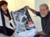 Galeristin Astrid Kirschey und Künstler Ingo Schleutermann bei den Vorbereitungen für die neue Ausstellung. (Foto: © Martina Hörle)