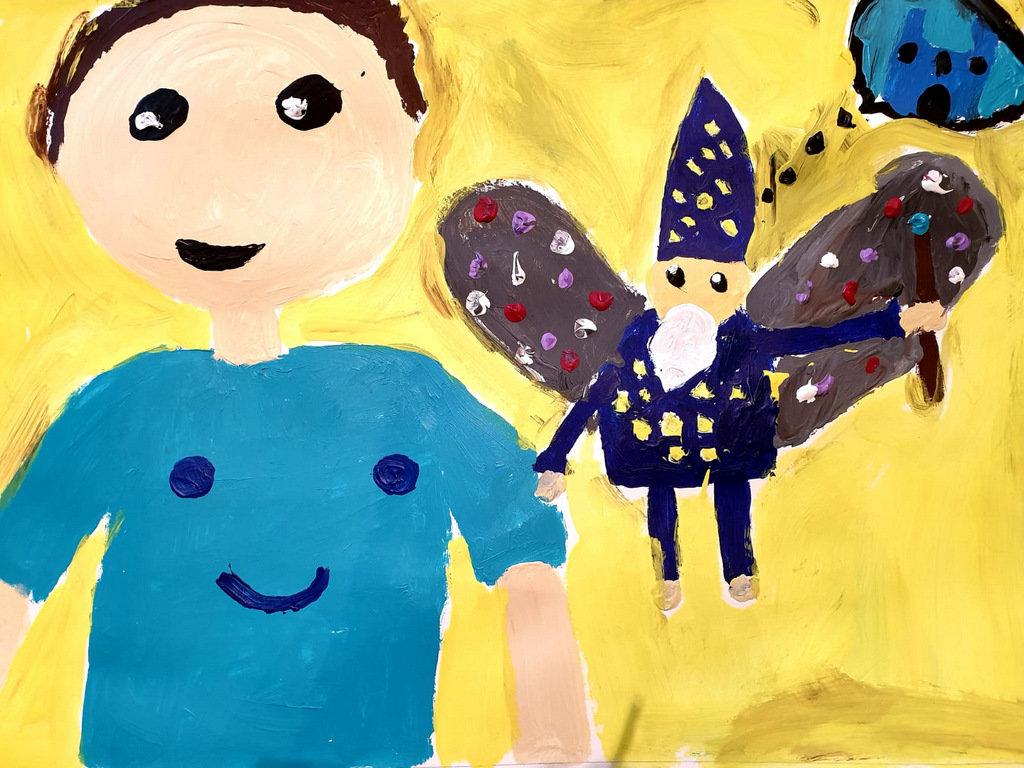 Die achtjährige Melike Cicek hat das Gewinnerbild gemalt. Es zeigt den kleinen Tim mit Lord Zauberwort, der durch einen Zauber so klein wie eine Libelle geworden war. (Foto: © Veranstalter)