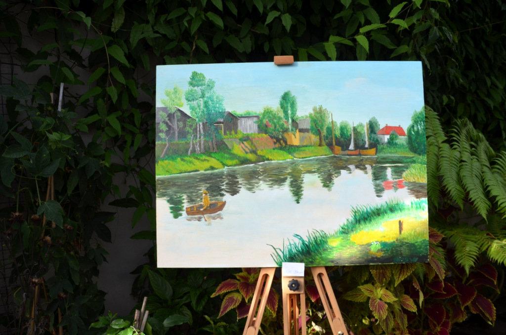 Willi Hoppe malt vorwiegend Solinger Ansichten in Öl. Er liebt kräftige Farben. (Foto: © Martina Hörle)