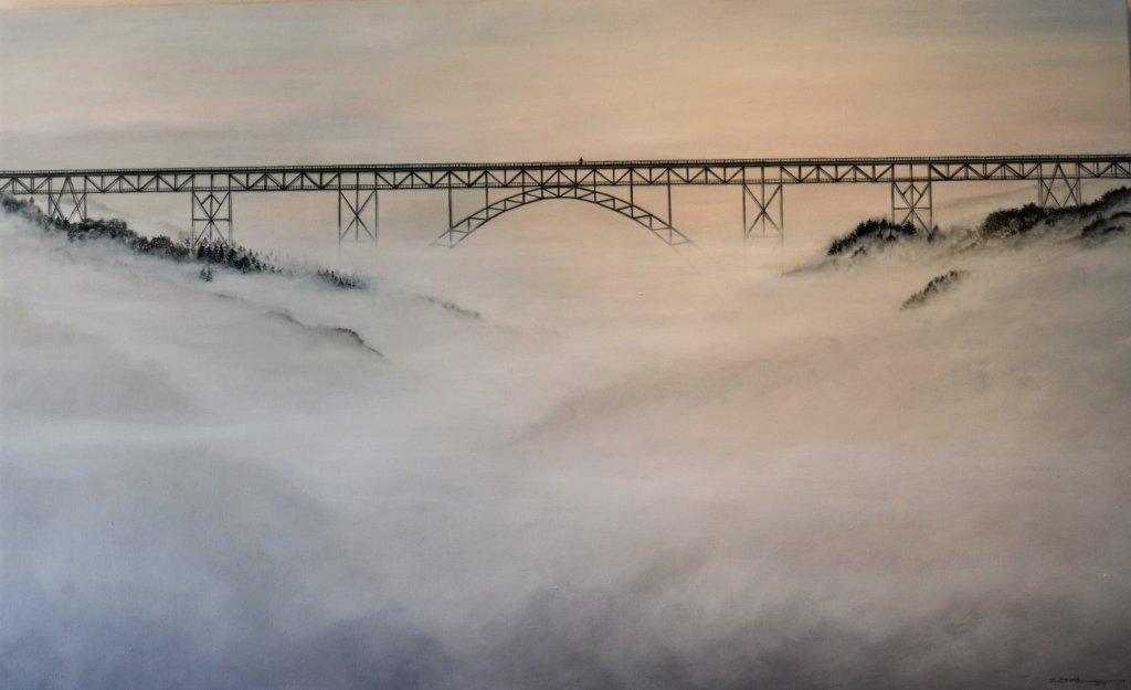 Die Ansicht der Müngstener Brücke im Nebel ist das einzige Landschaftsgemälde aus diesem Jahr. (Foto: © Martina Hörle)