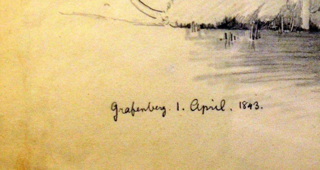Viele Grisaillen hat Friedrich August de Leuw mit Ortsangaben und Datum versehen. (Foto: © Martina Hörle)