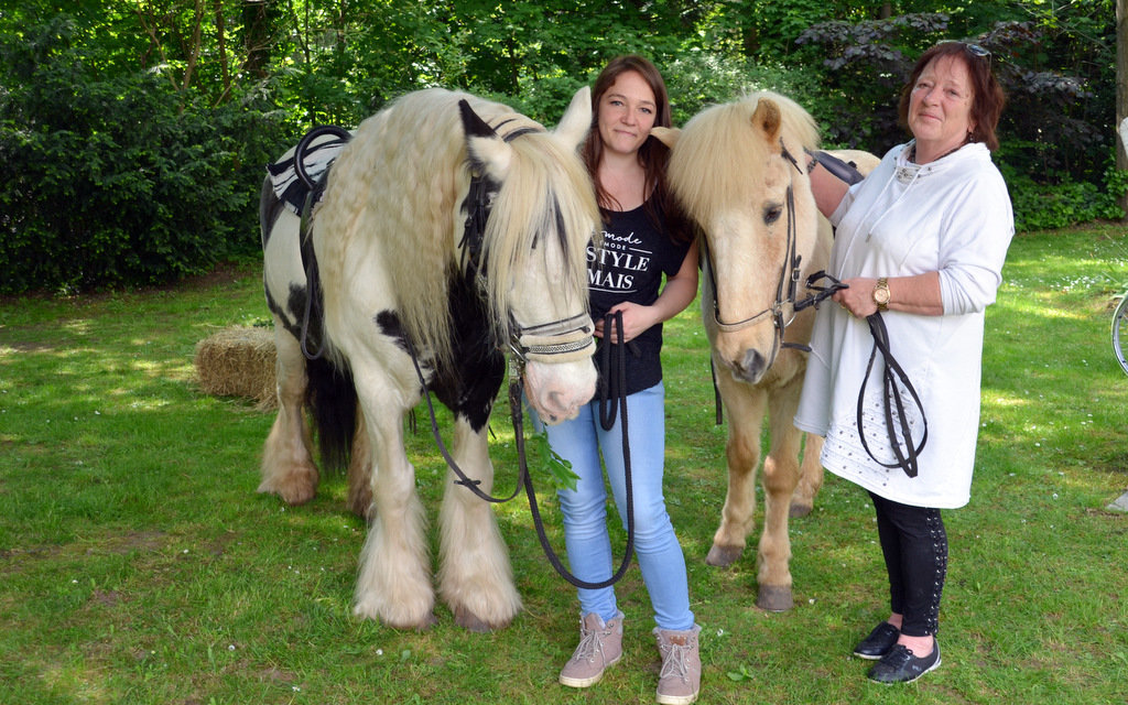 Die Pferde Freddy und Foelvi trugen die kleinen Gäste auf ihrem Rücken. Von den älteren Gästen und Bewohnern gab es für die Vierbeiner viele Streicheleinheiten. (Foto: © Martina Hörle)