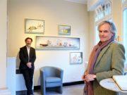 Dirk Balke (li.) präsentiert Stillleben 2021 als virtuelle Vernissage auf YouTube. Kunsthistoriker Dr. Achim Stanneck führt durch die Ausstellung. (Foto: © Martina Hörle)