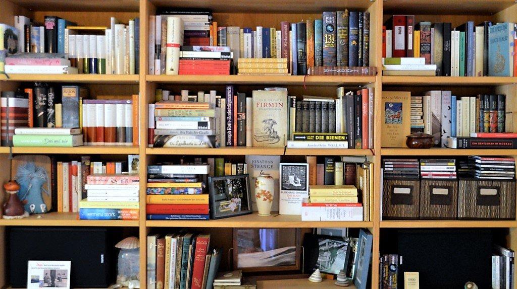 Die Wohnung der Bloggerin ist voller Bücher, die eine beachtliche Genrevielfalt aufweisen. Sie selbst ist eine große Anhängerin des Wortspiels. (Foto: © Martina Hörle)