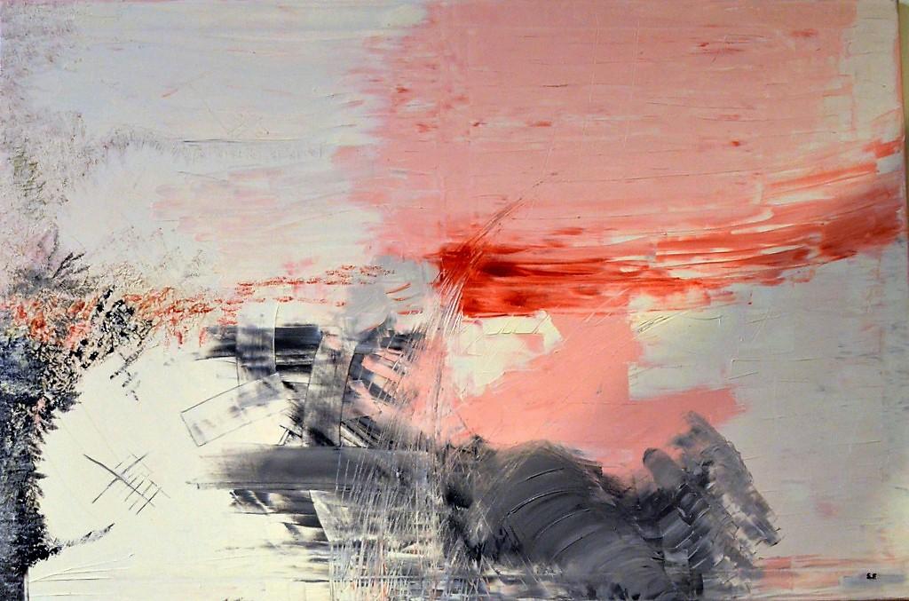 """Während Sebastian Faure anfangs in Acryl und Öl malte, hat er sich mittlerweile auf die abstrakte Ölmalerei spezialisiert. In allen Werken ist seine Botschaft zu spüren, wie hier in seinem Bild """"Horizon"""". (Foto: © Martina Hörle)"""