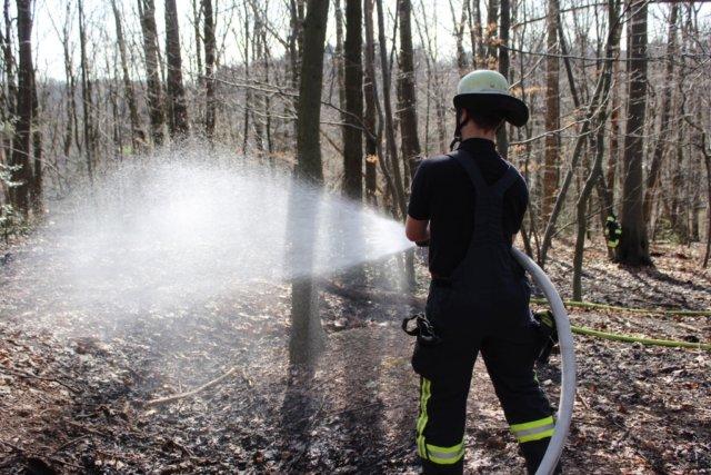 Am Samstagnachmittag rückte die Feuerwehr Solingen zu einem gemeldeten Waldbrand an die Dültgenstaler Straße aus. Laub und Geäst standen in Flammen. (Foto: © Das SolingenMagazin)
