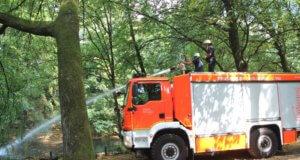 Die Feuerwehr griff am Freitag den Technischen Betrieben (TBS) unter die Arme und schoss tausende Liter Wasser in die beiden Teiche der Parkanlage Gerberstraße in Gräfrath. (Foto: © Bastian Glumm)
