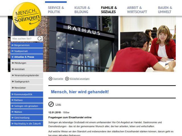 Auf der Internetseite der Stadt Solingen ist der Fragebogen zum Einzelhandel hinterlegt. (Screenshot: www.solingen.de)