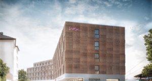 So soll der fünfgeschossige Hotelneubau aussehen. Die Eröffnung des neuen Hotels am Hauptbahnhof ist für das zweite Quartal 2021 vorgesehen. (Bild: © Hotel Solingen GmbH)