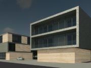 Die Firma Jumo Projektbau GmbH, die aktuell 45 Mitarbeiter beschäftigt, lässt im Südpark ein neues Gebäude mit knapp 700 Quadratmetern Bürofläche auf einer Grundstücksfläche von rund 950 Quadratmetern errichten. (Bild: © PlanBAR Köln)