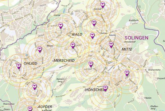 Feste Sirenen stehen in Solingen an 20 Standorten. Zudem verfügt die Stadt über drei mobile Einheiten. (Karte: © Stadt Solingen)