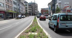 Das Landesamt für Natur, Umwelt und Verbraucherschutz Nordrhein-Westfalen (LANUV) führt an der Konrad-Adenauer-Straße Messungen der Luftqualität durch. Dazu wurde eigens ein Messcontainer aufgestellt. (Archivfoto: B. Glumm)