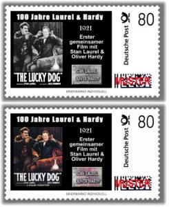"""Auf der Jubiläumsbriefmarke ist das Original-Filmplakat des Stummfilms """"The Lucks Dog"""" zu sehen. (Bild: Laurel & Hardy Museum)"""