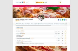Die Solinger Werbeagentur AWEOS richtet für gastronomische Betriebe Online-Liefersysteme ein. (Screenshot: Imbiss Bei Dora)