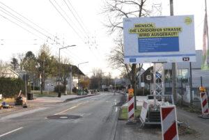Die umfangreichen Arbeiten auf der Löhdorfer Straße begannen Mitte 2019. (Foto: © Bastian Glumm)