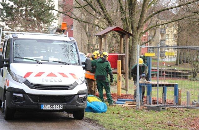 Der neue Spielplatz im Park Maltesergrund ist fast fertig, zwei weitere neue Spielplätze in Solingen folgen demnächst. (Foto: © Bastian Glumm)
