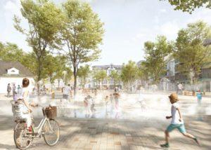 So könnte der Ohligser Marktplatz ab 2022 aussehen. Die Planer wünschen sich, dass sich in Zukunft dort das urbane Leben des Stadtteils abspielt. (Foto: © RMP)