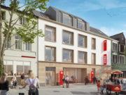 Im Frühjahr 2021 wird die neue Sparkassen-Filiale am alten Globus-Standort in Ohligs eröffnen und mit ihr ein Markt von REWE Rahmati. (Bild: © Stadt-Sparkasse Solingen)