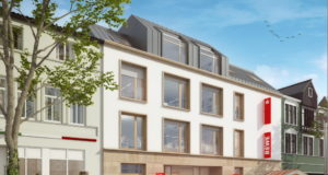 Nach Ostern 2021 wird die neue Sparkassen-Filiale am alten Globus-Standort in Ohligs eröffnen und mit ihr ein Markt von REWE Rahmati. (Bild: © Stadt-Sparkasse Solingen)