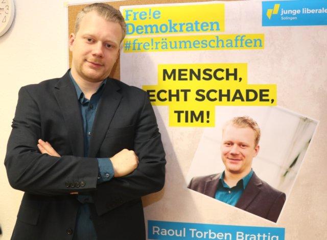 Raoul Brattig möchte Solinger Oberbürgermeister werden, der 27-jährige Solinger tritt nächtes Jahr bei den Wahlen für die FDP an. (Foto: © Bastian Glumm)
