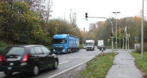 Die Straße Roggenkamp in Gräfrath ist der Zubringer zur Anschlussstelle Haan-Ost der Autobahn 46. (Archivfoto: © Bastian Glumm)