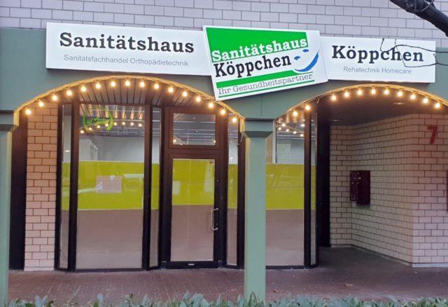 Noch sind die Schaufenster der neuen Filiale des Sanitätshauses Köppchen in Leichlingen verklebt. Denn feierlich eröffnet wird erst kommende Woche. (Foto: © Sanitätshaus Köppchen)