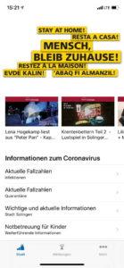 """Die """"Mensch, Solingen – die offizielle App"""" geht jetzt mit Version 1.0 an den Start. (Screenshot: Stadt Solingen)"""