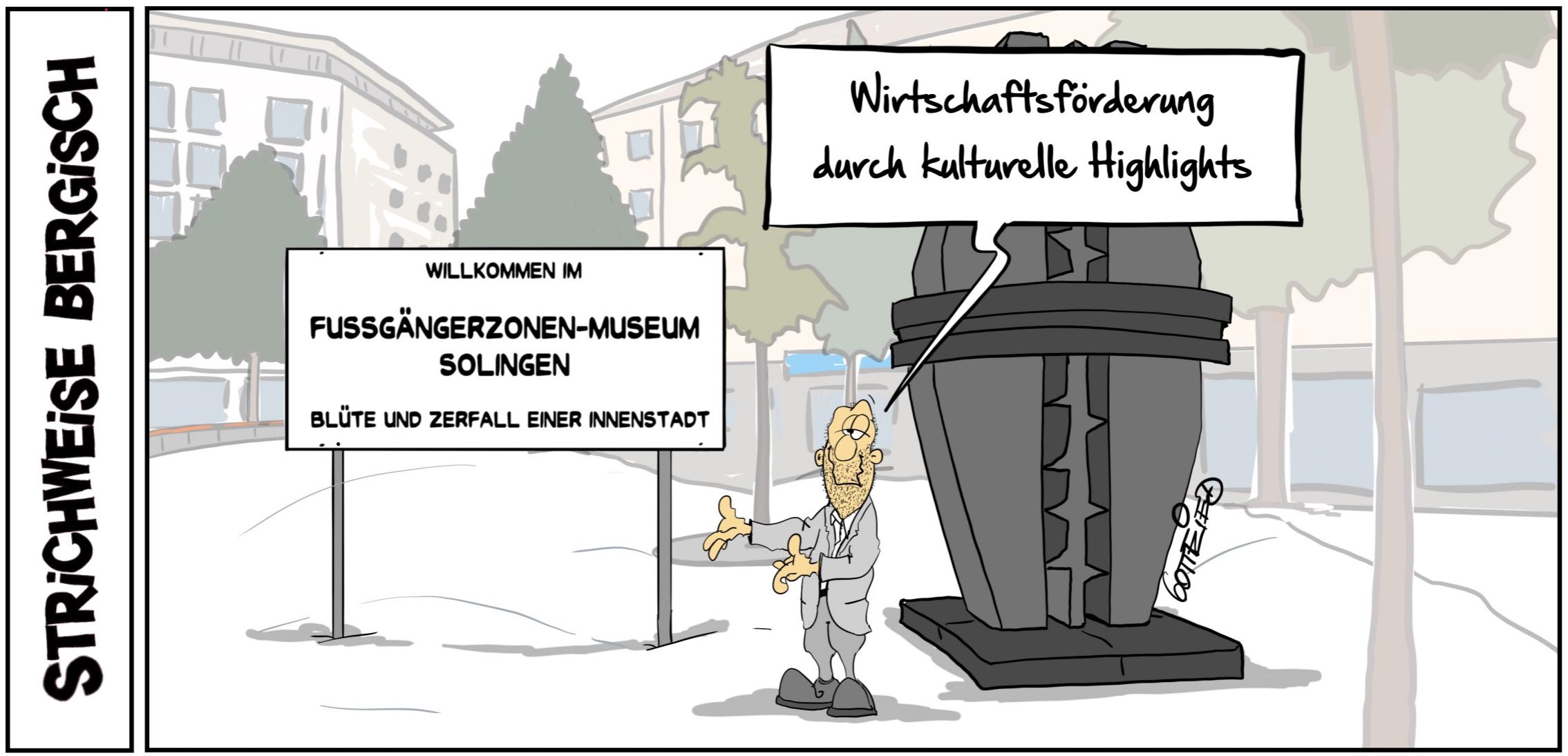 Ironischer Cartoon über die Fussgängerzonen Solingen