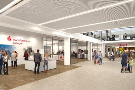 In rund einem Jahr will man die Umbauarbeiten für die neue Filiale der Stadt-Sparkasse in Ohligs abgeschlossen haben. (Foto: © Stadt-Sparkasse Solingen)